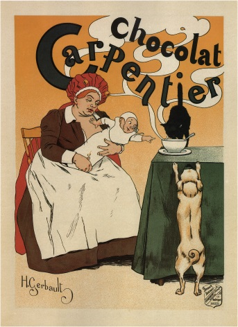 Vintage Chocolat Carpentier French Food Advertising Poster.