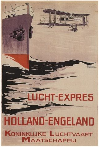 Vintage Dutch airlines poster -  Lucht-express (1921)