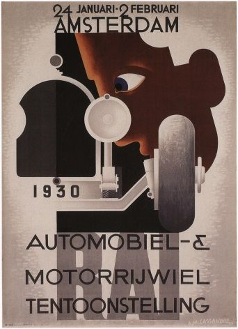 Vintage Dutch poster - Exhibiton of cars and motorcycles (1930)