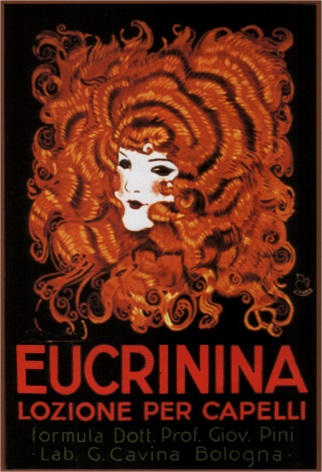Vintage hair lotion advertisement - EUCRINNIA LOZIONE PER CAPELLI POSTER