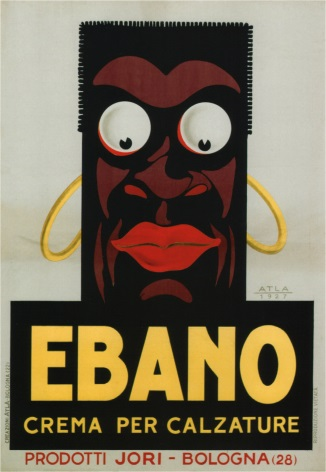 Vintage Italian Ebano Crema Per Calzature, Shoe Polish advertising poster.