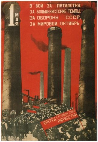 Vintage Russain poster - First of May, Join the battle for the five year plan 1931
