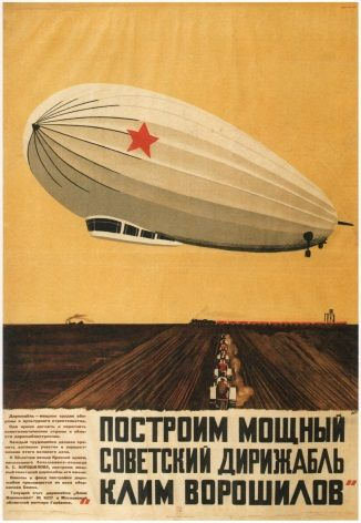 Vintage Russian poster - Let us build mighty Soviet Airships 1931