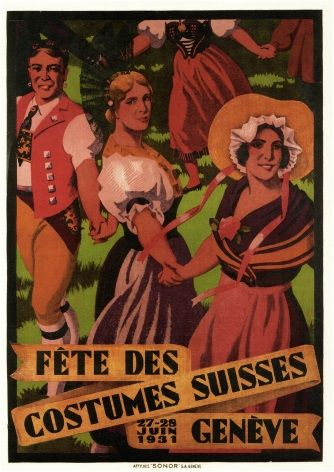 Vintage Swiss poster - Festival of Swiss costumes (1931)
