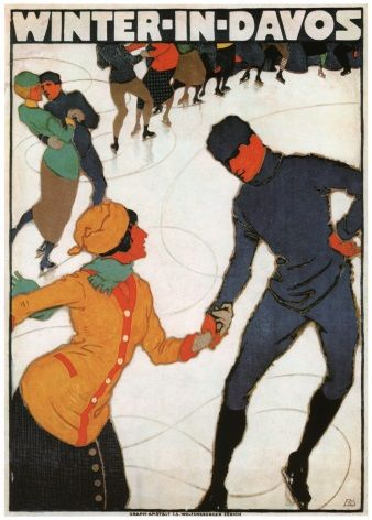 Vintage Swiss poster - Winter in Davos 1914