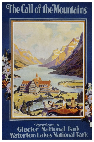 Vintage Travel Poster Glacier National Park Usa