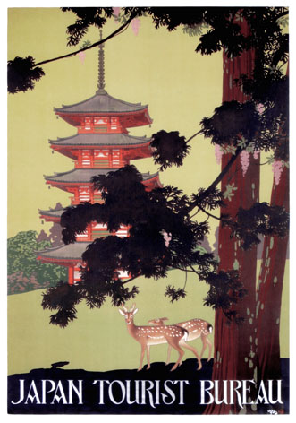 Vintage Travel Poster Japan Tourist Bureau