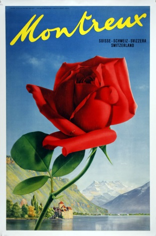 Vintage travel poster, Montreux, Switzerland.