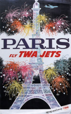Vintage Travel Poster Paris Fly TWA Jets
