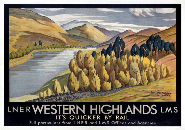 Vintage Travel Poster Scottish Highlands