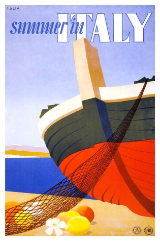 Vintage Travel Poster Summer in Italy