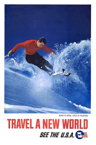Vintage Travel Poster Travel a New World USA