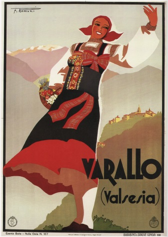 Vintage Travel Poster Varallo Italy