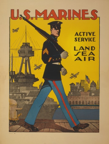 Vintage U.S. Marines - active service - land, sea, air. Enlisting Poster.