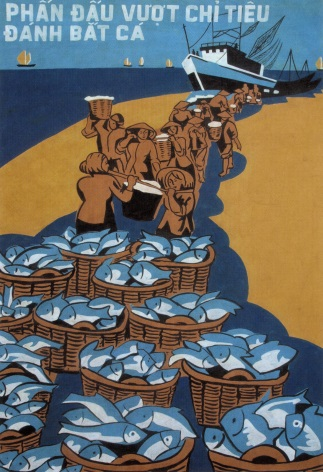 Vintage Vietnam Propaganda Poster Striving Exceeded Fishing