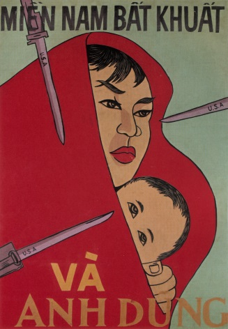 Vintage Vietnamese Woman and child Propaganda Poster