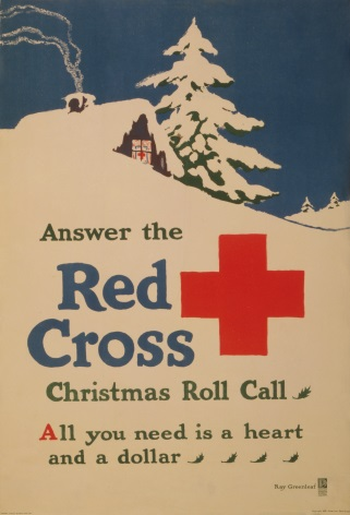 Vintage War Poster Answer the Red Cross Christmas roll call All you need is a heart and a dollar.