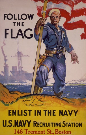 Vintage War Poster Follow the flag, enlist in the Navy, U.S. Navy Recruiting Station