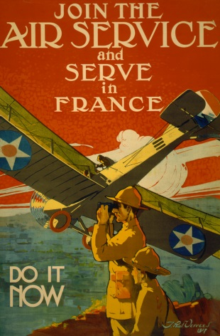 Vintage War Poster Join the air service and serve in France--Do it now