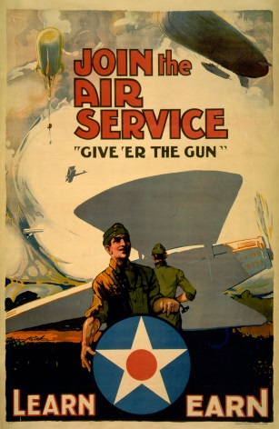Vintage War Poster Join the Air Service Learn - earn.