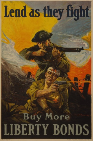 Vintage War Poster Lend as they Fight, Buy more Liberty Bonds.