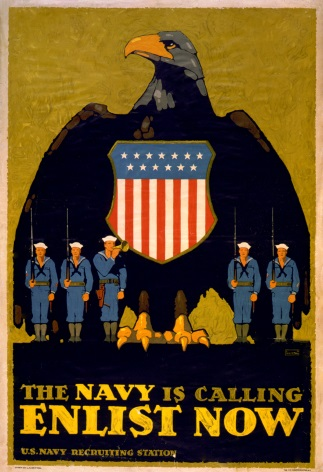 Vintage War Poster The Navy is calling--Enlist now