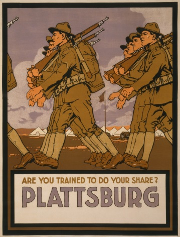 "Vintage World War Poster ""Are you trained to do your share? Plattsburg"""