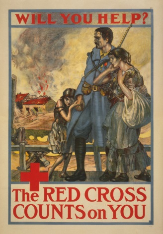 "Vintage World War Poster ""Will you help? The Red Cross Counts On You"""