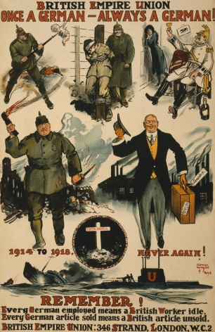 "Vintage WW1 Poster. British Empire Union. ""Once a German, always a German."" Remember! Every German employed means a British worker idle."