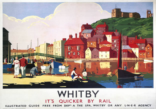Whitby Harbour, Yorkshire. LNER Vintage Travel Poster by K Hauff. c1930