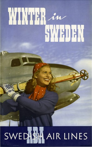 Winter in Sweden. Vintage Travel Poster by Swedish Air Lines.